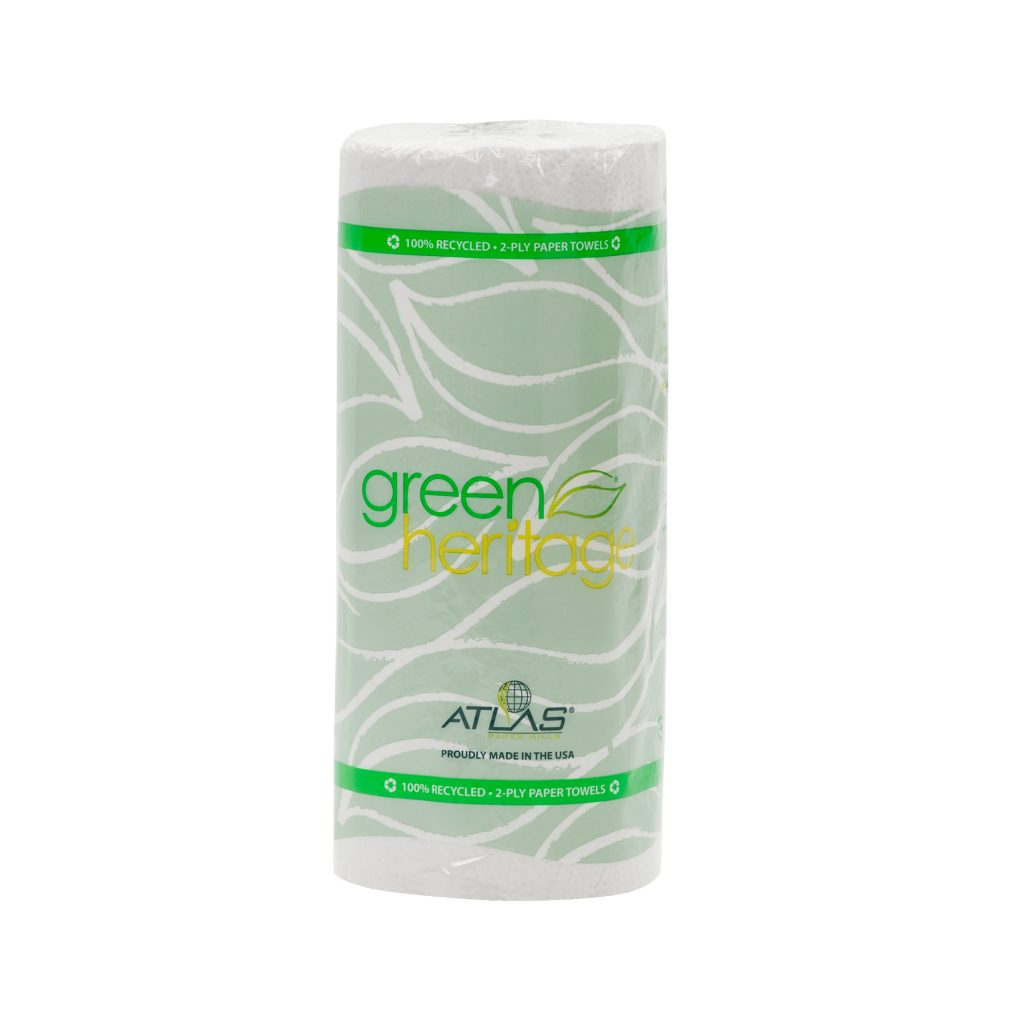 "Kitchen roll towel, Color: White, Size: 11""x8"", 2-ply, Made from 100% recycled fiber, 85 sheets/roll; 30 rolls/cs"