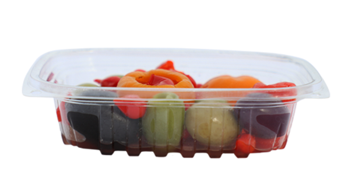 8 oz Rectangular Deli Container, Color: Clear, Material: PLA, Compostable, 900/cs