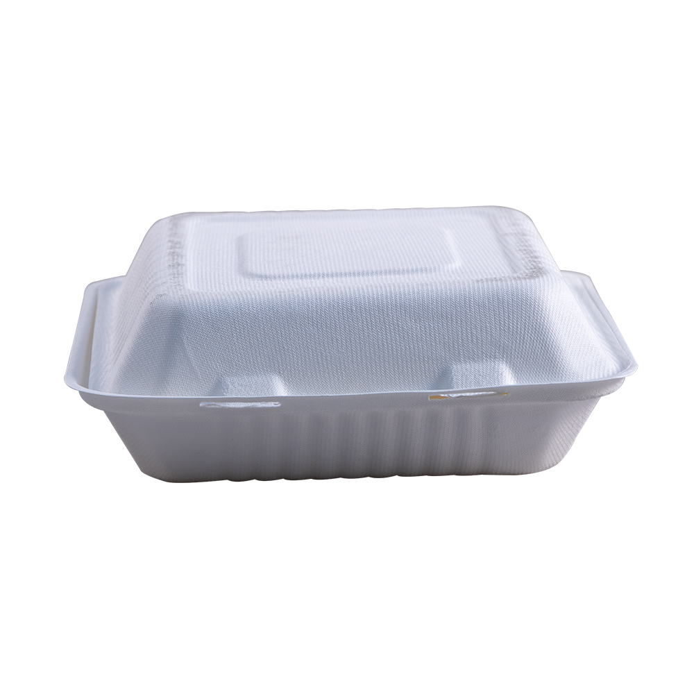 "Take-Out Container, hinge, Size: 9""x9""x3"", Material: Sugarcane Fiber, Color: White, Compostable, 200/cs"