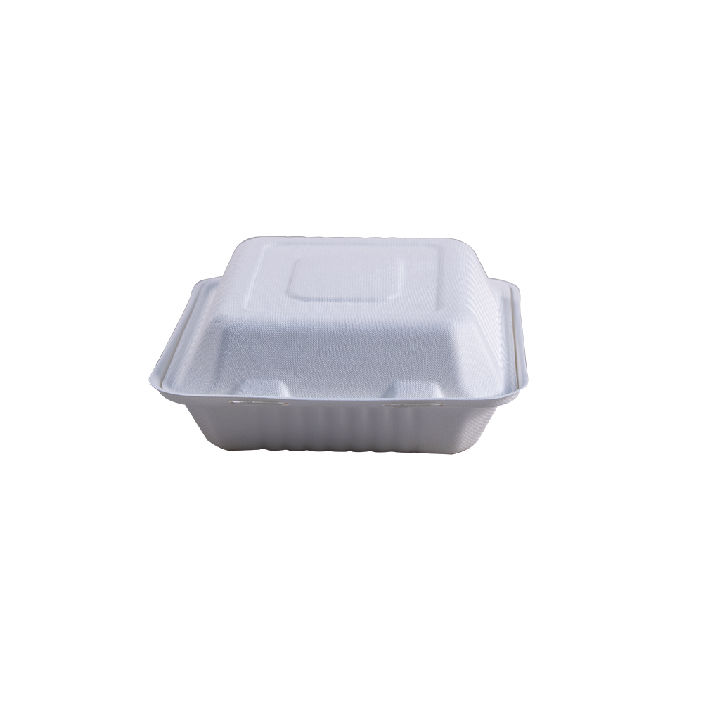"Take-Out Container, hinge, Size: 8""x8""x3"", 3-Compartment, Material: Sugarcane Fiber, Color: White, Compostable, 200/cs"