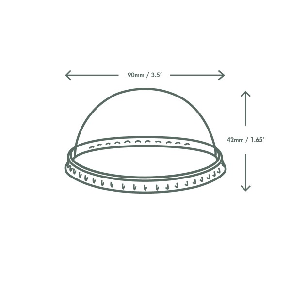 *SPECIAL ORDER ITEM* Dome lid for 6-8 oz Hot Food Container, Material: PLA, Color: Clear, Compostable, 1000/cs *ESTIMATED DELIVERY 3 TO 4 WEEKS* (NOT RETURNABLE)