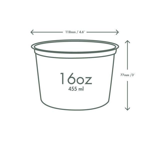 16 oz Round Deli Container, Material: PLA, Color: Clear, Compostable, 500/cs