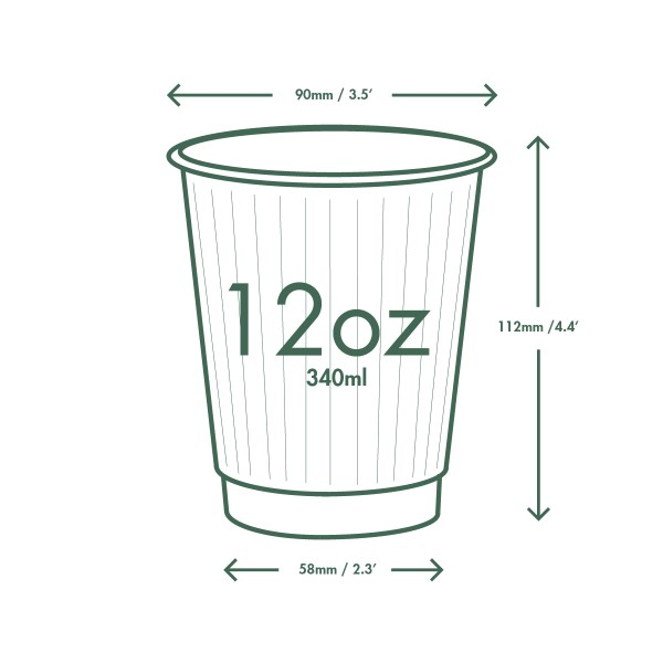 12 oz Hot Cup, Material: PLA lined paper, Insulated, Color: White with Green Print, Compostable, 500/cs