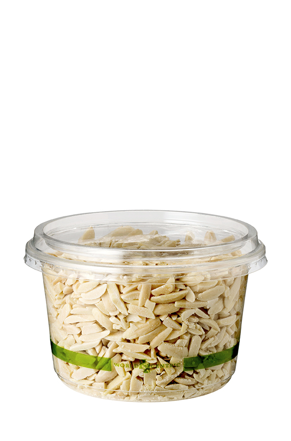 16 oz Round Deli Container, Color: Clear with green stripe, Material: PLA, Compostable, 1000/cs