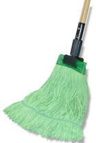 "Eco-Friendly wet mops, Size: Large (1.5"" Headband) 100% Certified Recycled Fibers, Made with Renewable Energy, 12 mops/cs"