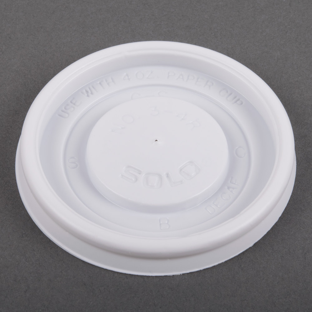 Hot cup flat lid for 4 oz cups, Color: White, 1000/cs