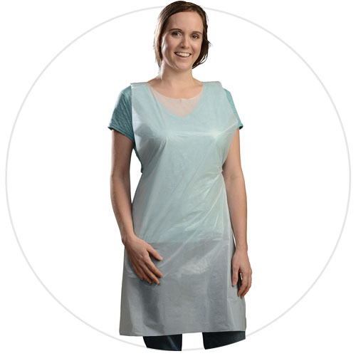 "Aprons, regular weight, Size: 28""X46"", Color: White, Material: Polyethylene, Embossed, 1000/cs"