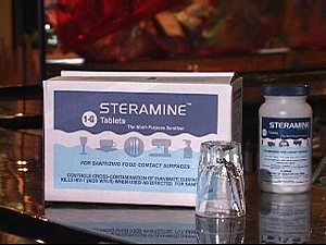 Steramine tablets, third sink sanitizing rinse for glassware, dishes, and utensils, 900/cs