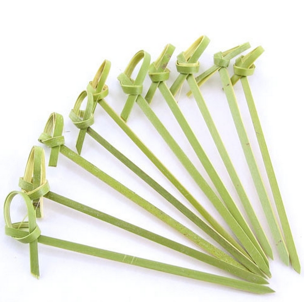 "Bamboo pick with decorative knotted end, Color: Green, Size: approximately 3.5"" long, 1000/cs"