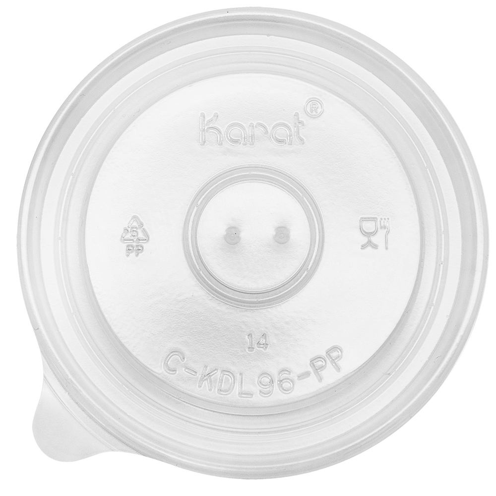 Plastic flat 96mm lid for food containers, vented, 1000/cs