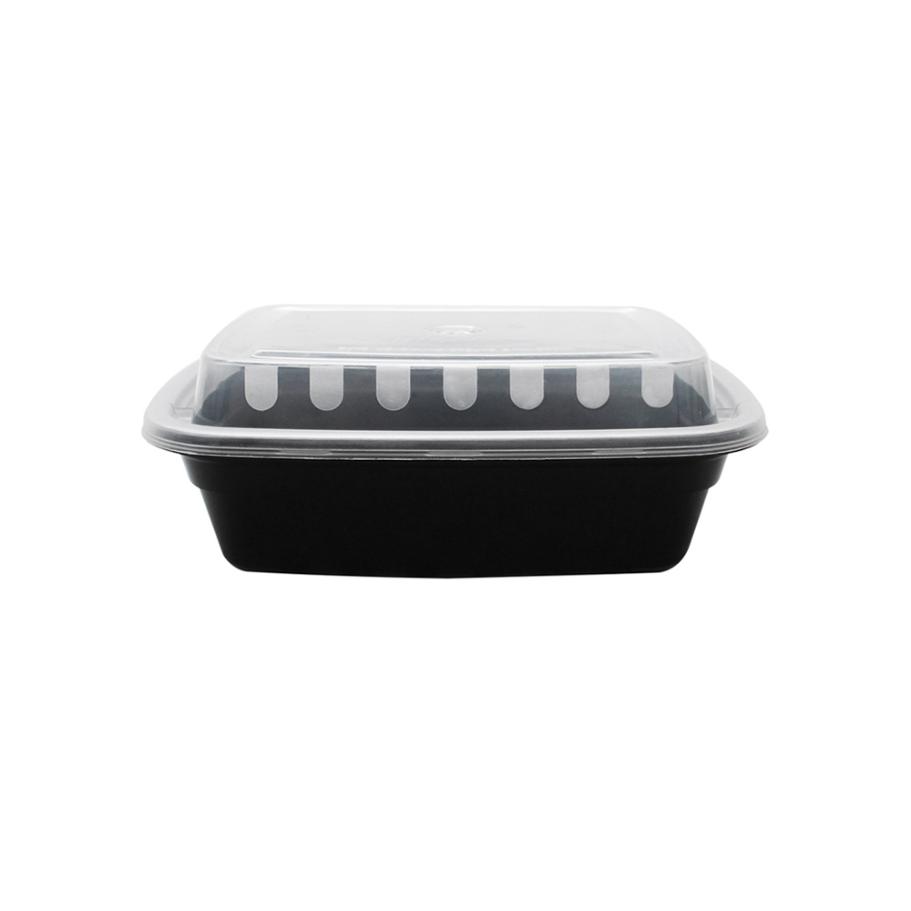 Take-Out Container, 6.0x4.7x1.5, plastic, black base & clear lid, microwaveable & dishwasher safe, 150 sets/cs