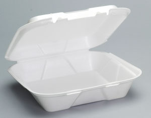 Take-Out Container, 9.25 x 9.25 x 3, Foam, White, Vented, 200/cs