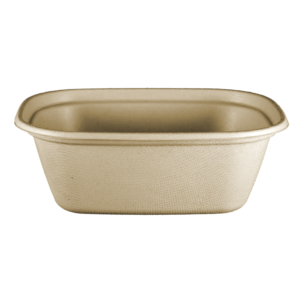 "*SPECIAL ORDER ITEM* 48 oz Fiber Tray, Size: 8.7""x6.7""x3.1"", Material: Unbleached plant fiber w/ PLA Lining, Color: Natural, Compostable, 400/cs *ESTIMATED DELIVERY 6 TO 8 WEEKS* (NOT RETURNABLE)"