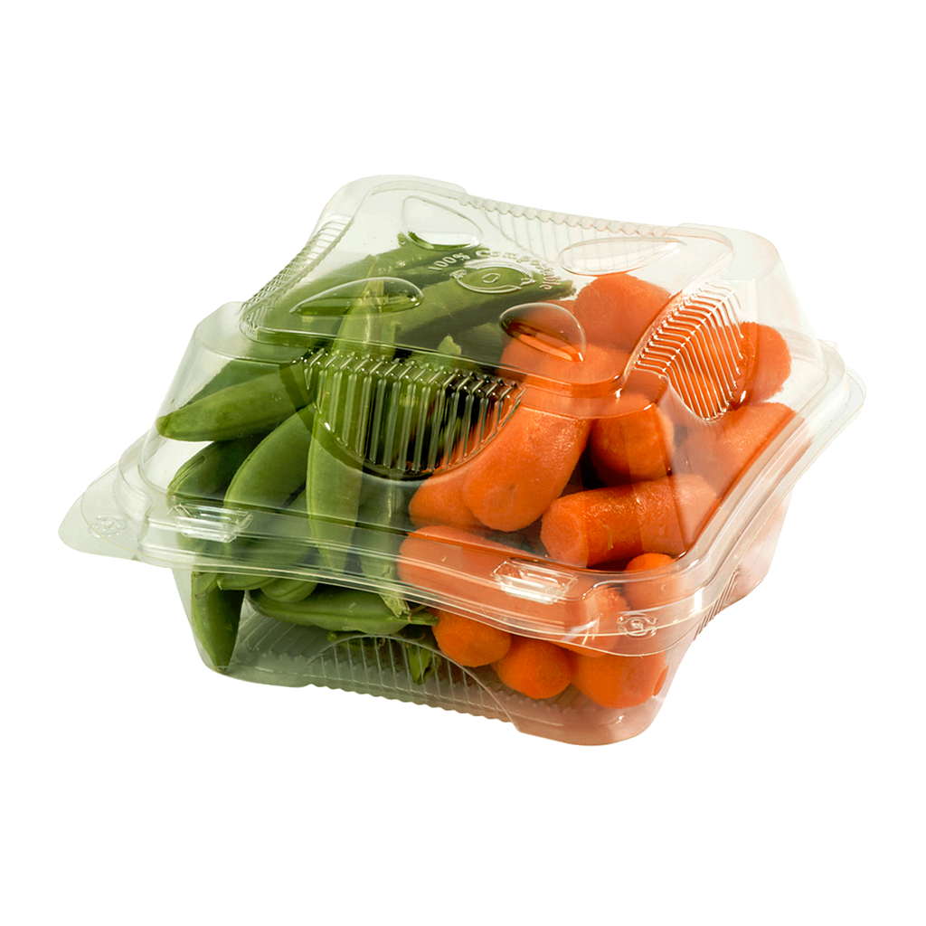 "1 Compartment Container, Hinged Clamshell, 6""x6""x3"", Clear, Material: PLA, Compostable, 250/cs"