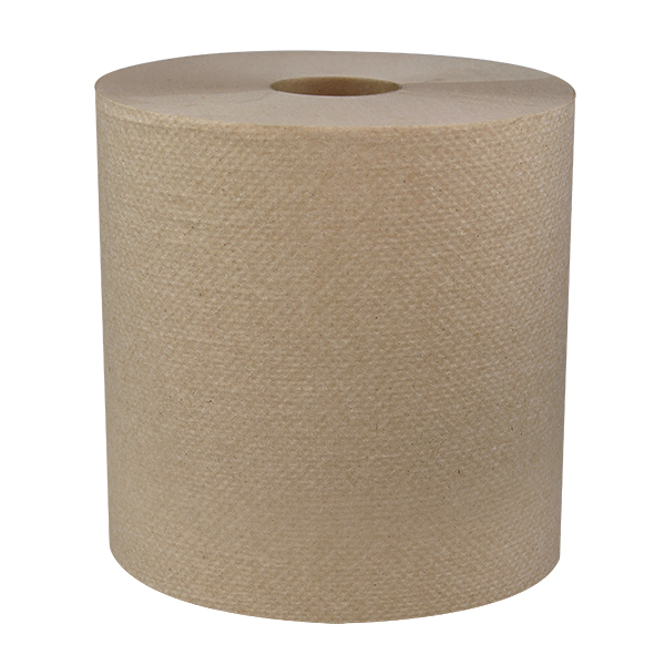 "Roll towel, 8"" Width, 800' Roll, 1 ply, Made with 100% Recycled Fibers, Natural, 6 rolls/cs, Made in USA, 24.03 lb"