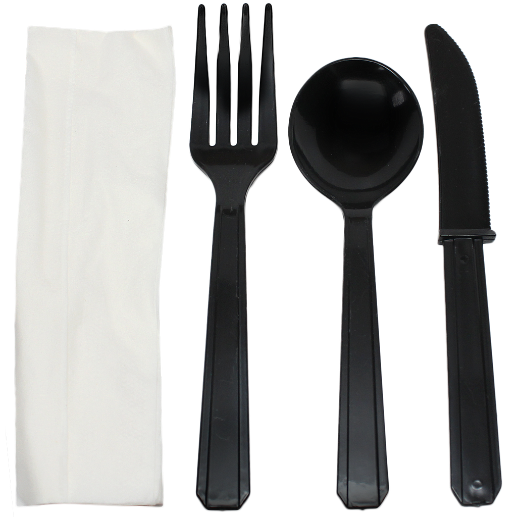 Combo,Fork, knife, soup spoon & white 1-ply napkin cutlery kit, Color: Black, Heavy Weight, 250 kits/cs