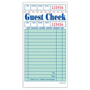 "Guest check, 1-ply, 16 lines, Color: green, Size: 3.5"" x 6.75"", Paper Stock, 100 pages/book; 50 books/cs"