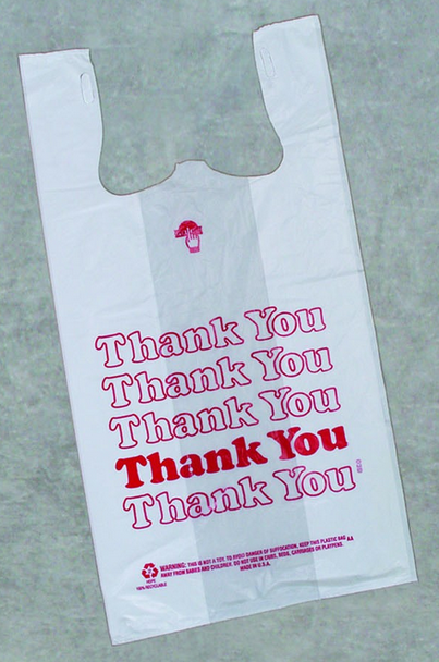 Plastic Bag with Handles, T-Shirt, Size: 12x7x22, Color: White with red Thank You print, 850/cs