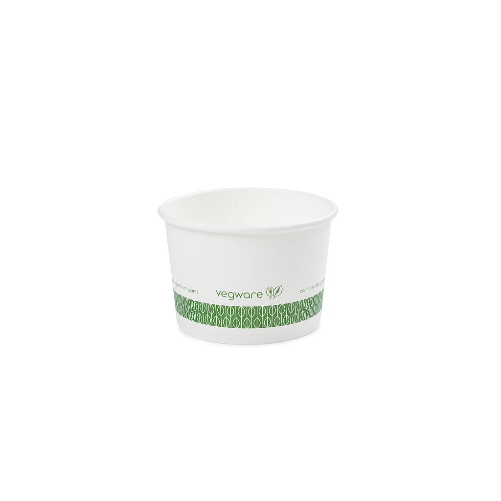 8 oz Hot Food Container / Soup Container, Material: PLA Coated Paper, Color: White w/Green Print, Compostable, 1000/cs