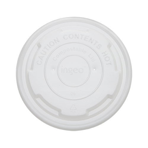 Flat lid for 6-8 oz Hot Food Container, Material: PLA, Color: White, Compostable, 1000/cs
