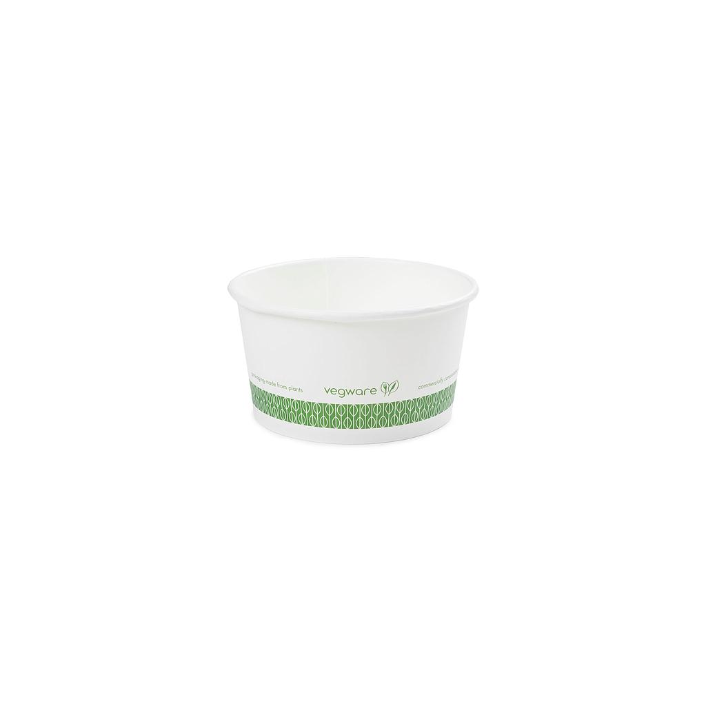 12 oz Hot Food Container / Soup Container, Material: PLA Coated Paper, Color: White w/Green Print, Compostable, 500/cs