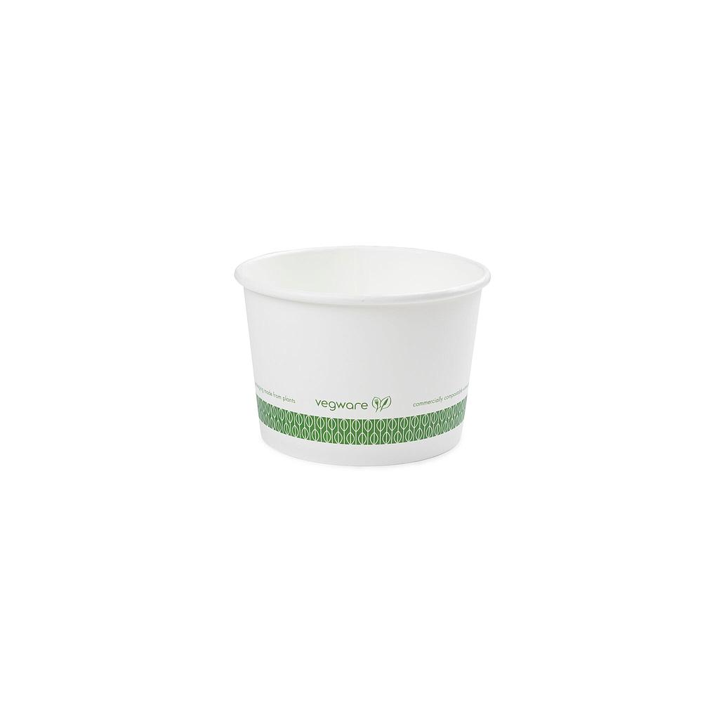 16 oz Hot Food Container, Material: PLA coated paper, Color: White with Green Print, Compostable 500/cs