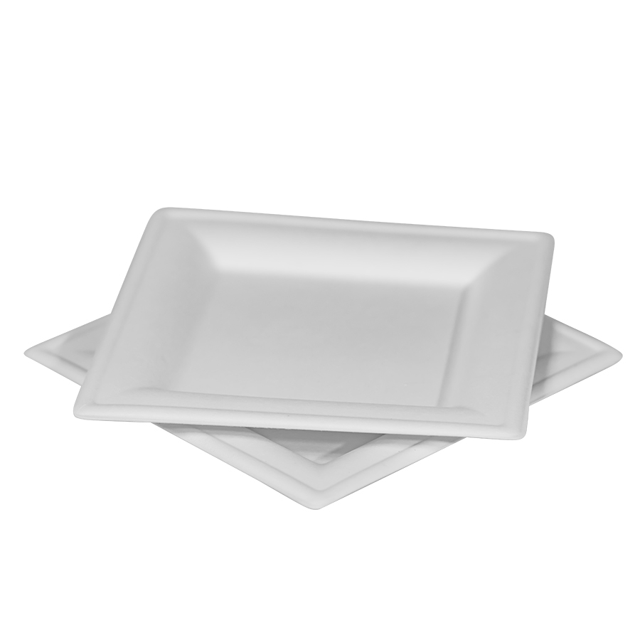 "Square Plate, Compostable, Heavy Weight, Size: 8"" X 8"", Color: Natural White, 500/cs"