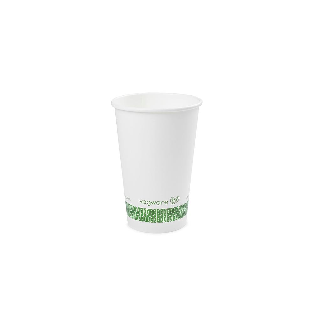 16 oz Hot Cup, Material: PLA lined paper, Color: White with Green Print, Compostable, 1000/cs