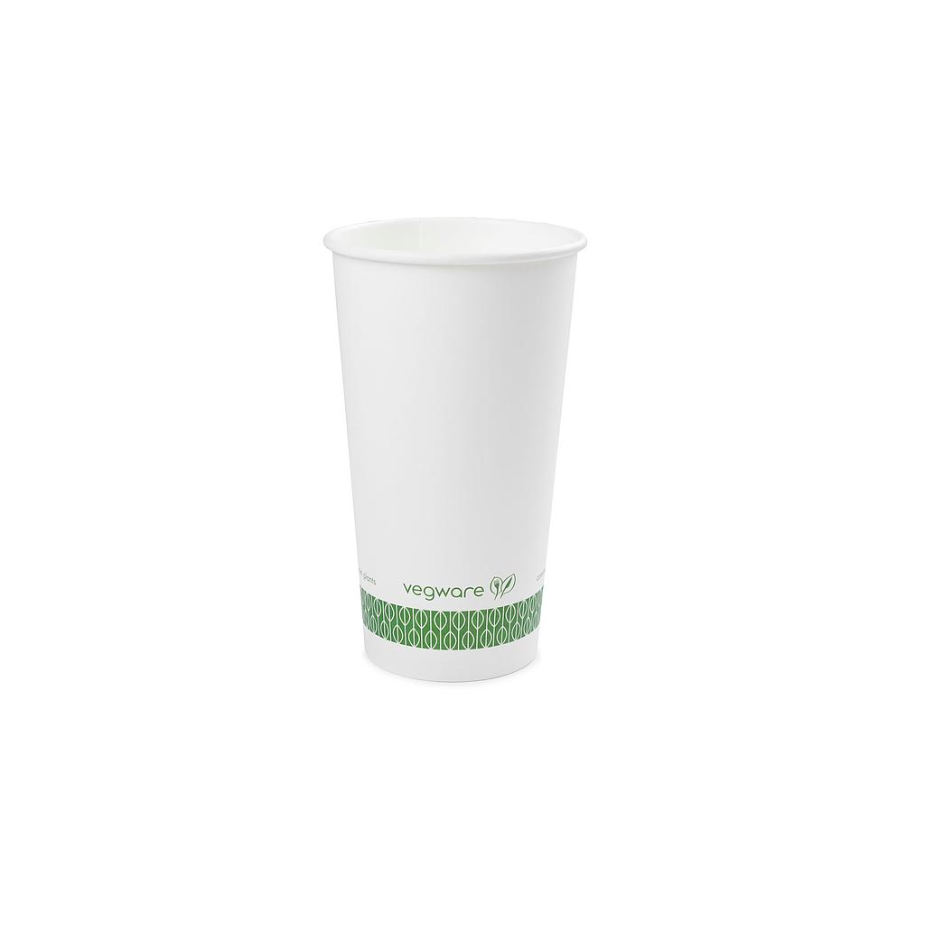 20 oz Hot Cup, Material: PLA lined paper, Color: White with Green Print, Compostable, 1000/cs