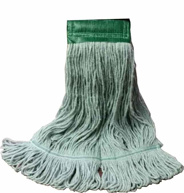 "Launderable Looped End Wet Mop, Auburn PRO Line KODIAK, Size: Large, 1.5"" Headband, Color: Green, 12 Mops/Cs"