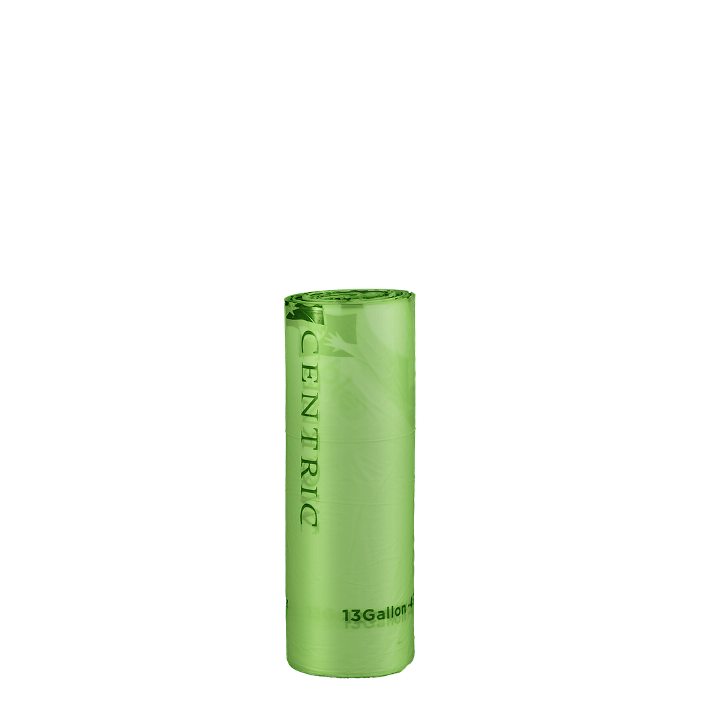"Can Liner, 23""x29"", 0.6 mil Thickness, Color: Green, 13 Gallon Capacity, Coreless Rolls, Compostable, 200/cs"
