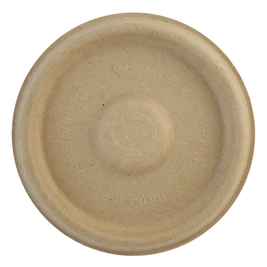 Lid for 4 oz portion cup, natural fiber, flat, compostable, 1000/cs