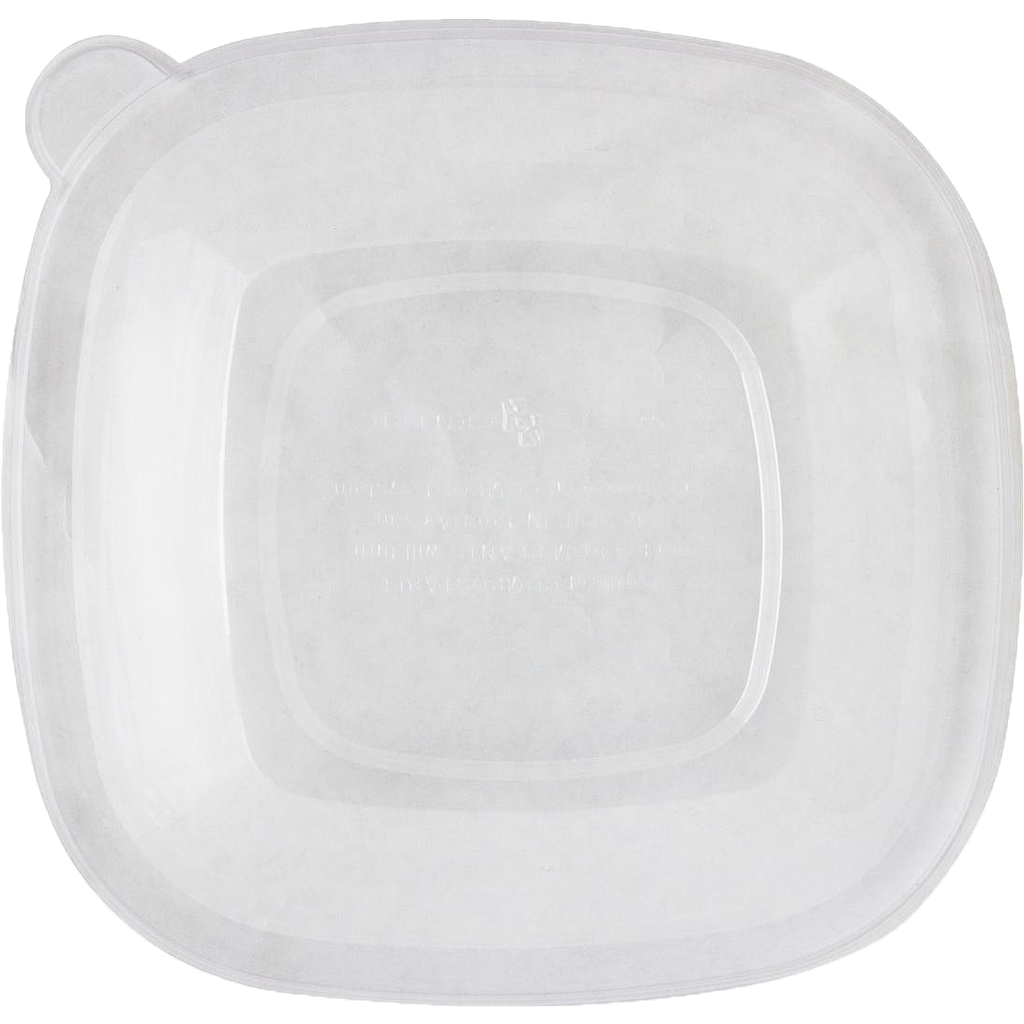 Vented Lid for 24 oz - 48 oz Square Bowl, PLA, Clear, Compostable, 200/cs, Special Order Item, Non-refundable, 3 to 4 week lead time