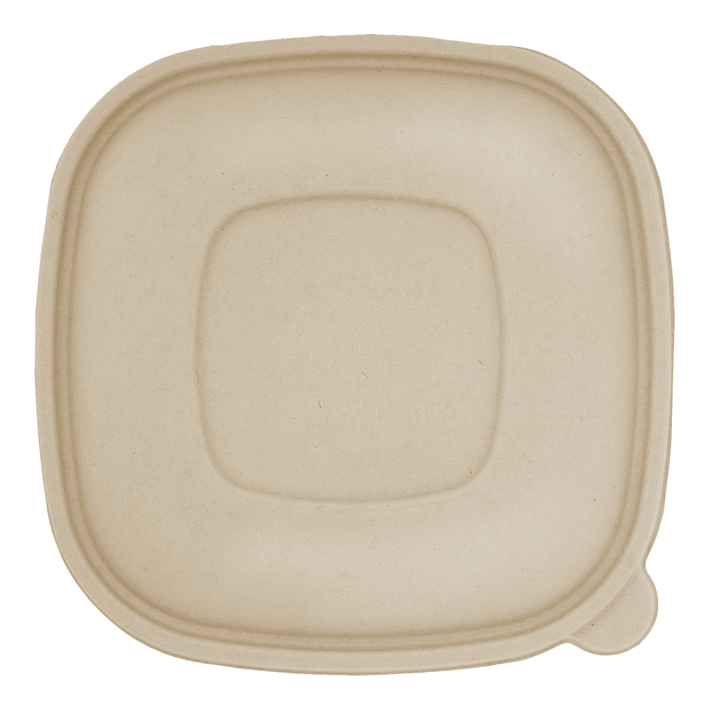 *SPECIAL ORDER ITEM* Lid for 24 oz - 48 oz Square Bowl, Material: Plant Fibers, Color: Natural, Compostable, 400/cs *ESTIMATED DELIVERY 4 TO 6 WEEKS* (NOT RETURNABLE)