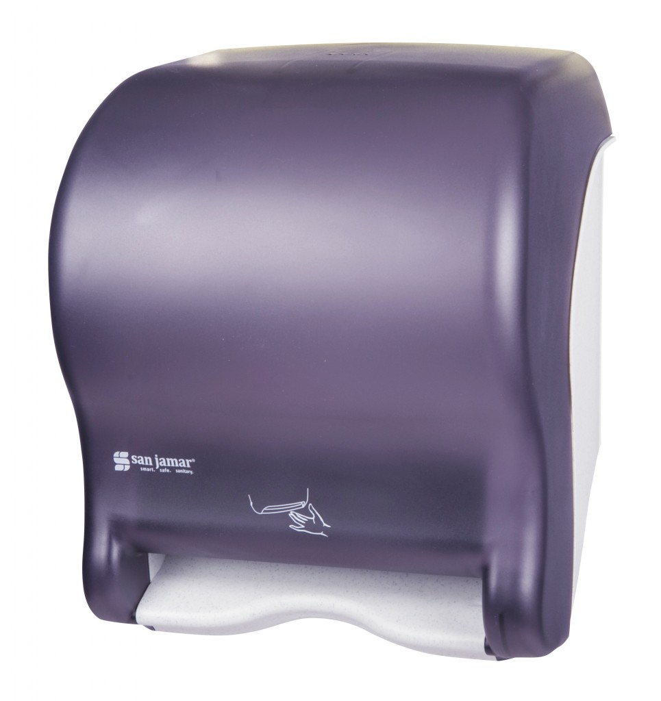 Electronic Touchless Universal Roll Towel Dispenser, Color: Black Pearl & White, Uses 4 D-cell alkaline batteries