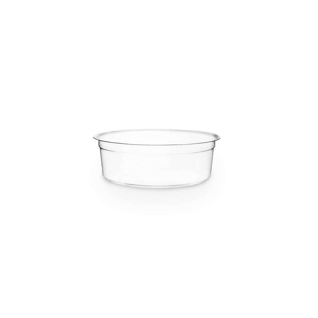 8 oz PLA round deli container, clear, compostable, 500/cs