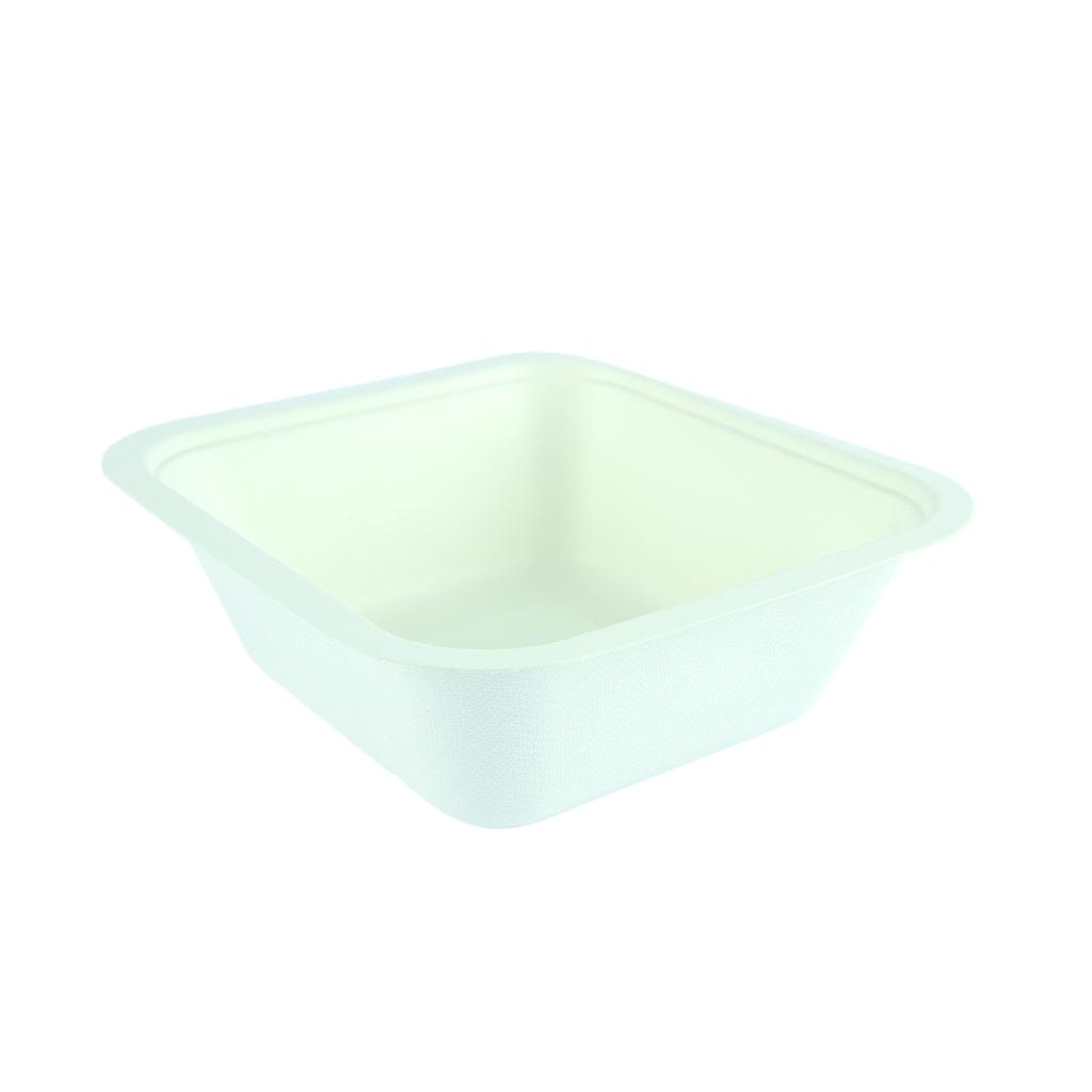 "*SPECIAL ORDER ITEM* 32 oz Take-Out Container Base (fits lid 4), Size: 7.7""x7""x2.5"", Material: Sugarcane, Capacity: 1000ml, Color: White, Compostable, 600/cs *SEE DETAILS BELOW*"