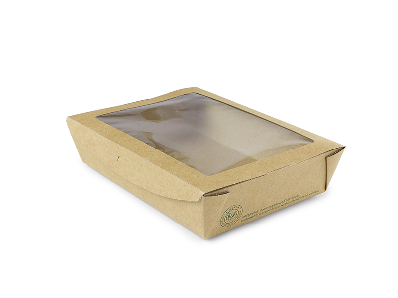 32 oz Large window salad box, compostable, 300/cs, Special Order, Non-refundable, 3 week lead time