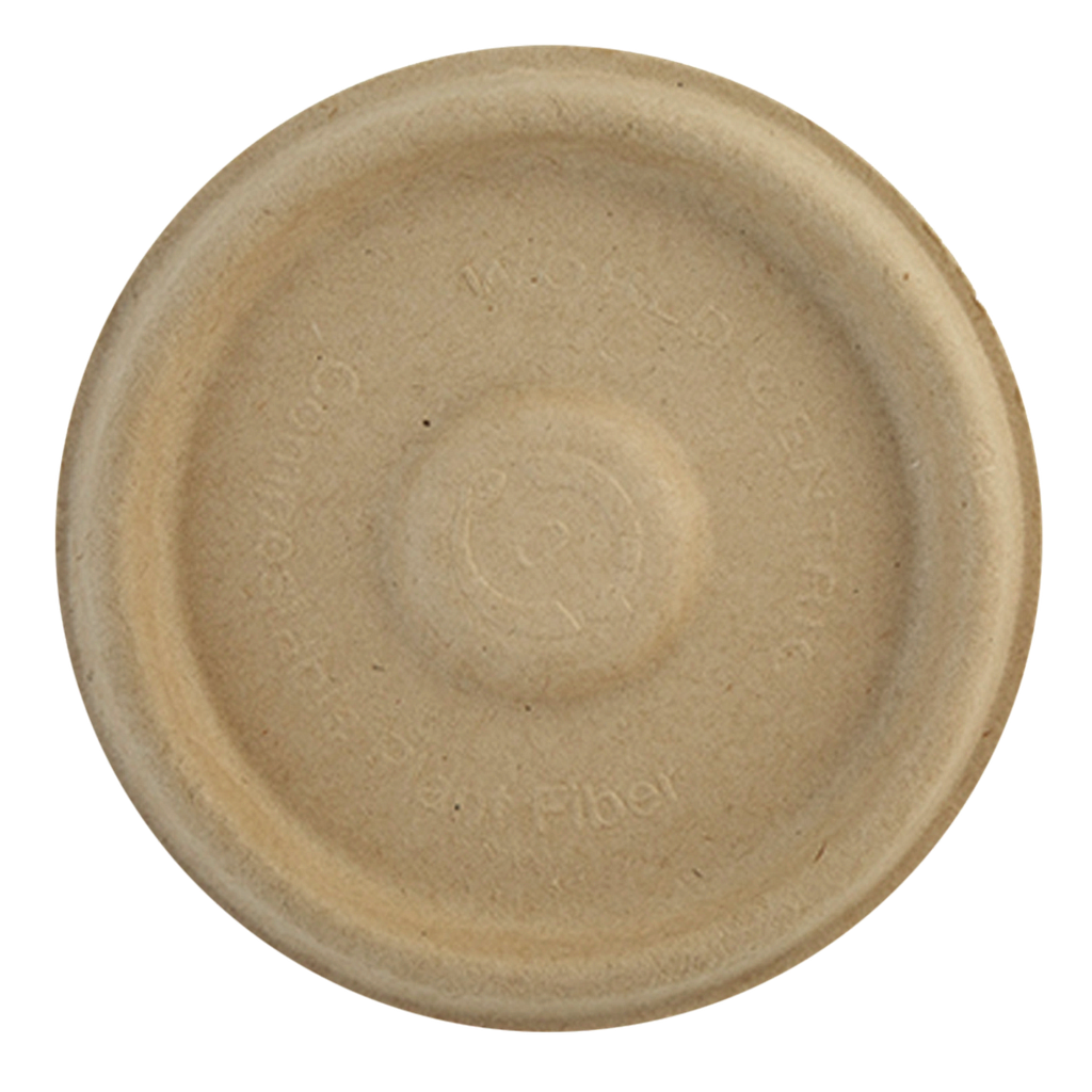 Flat lid for 2 oz portion cup, Material: Unbleached plant fiber, Color: Natural, Compostable, 2000/cs