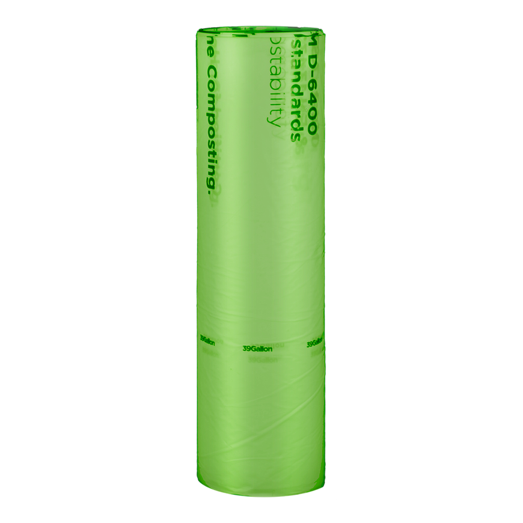 "Can Liner, 35""x43"", 1 mil, Color: Green with Black Print, 39 Gallon Trash Bag, Compostable, 100/cs"