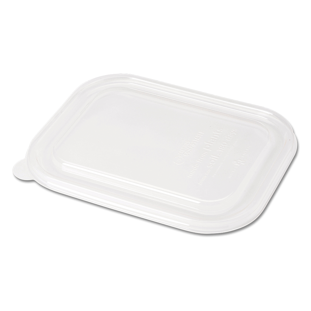 "Lid for 20-48 oz fiber tray, Size: 8.8""x6.9""x0.8"", Material: PLA, Color: Clear, Compostable, 400/cs"