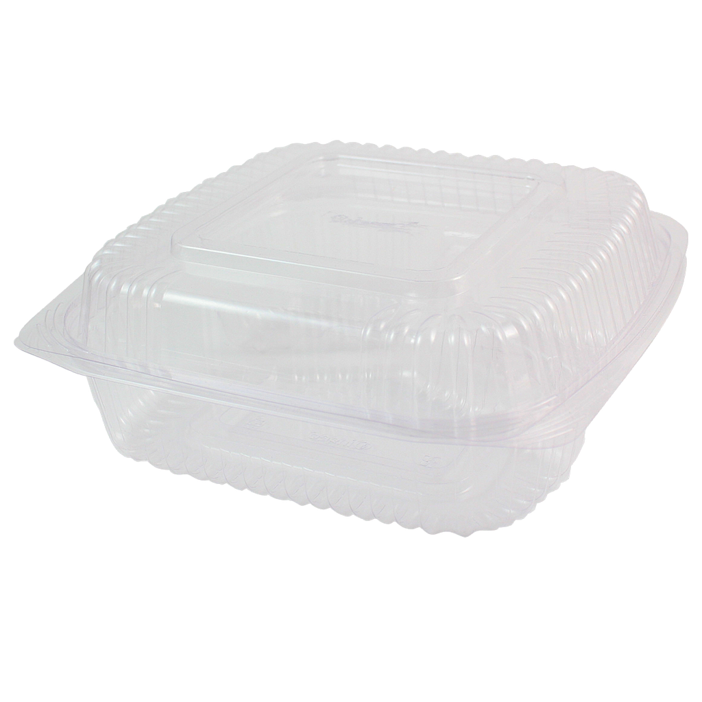 "3-Compartment Container, Hinged Clamshell, 8""x8""x3"", Clear, Material: PLA, Compostable, 250/cs"