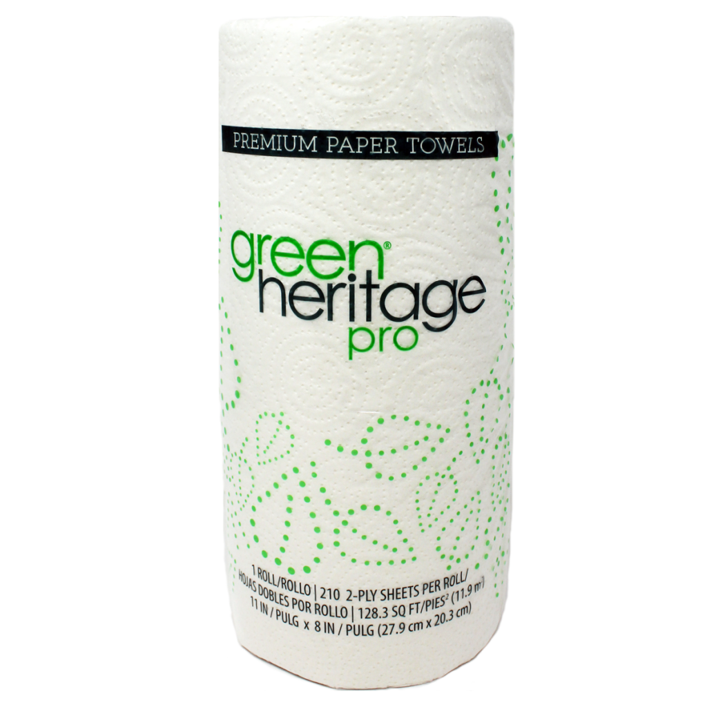 "Kitchen roll towel, Color: White, Size: 11""x8"", 2-ply, Made from 100% recycled fiber, Green Seal Certified, 85 sheets/roll; 30 rolls/cs"