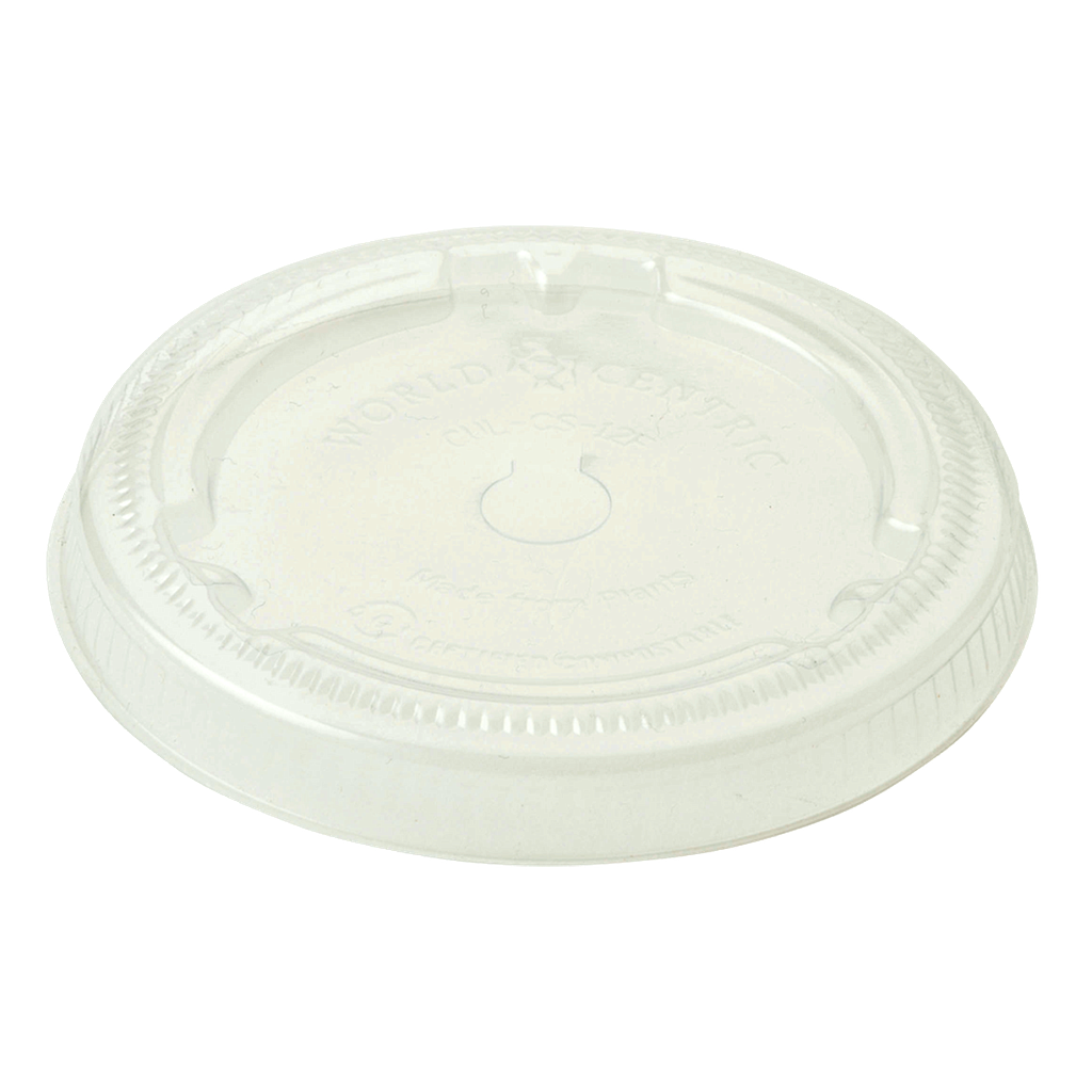 Lid for 12 oz - 22 oz cup, Straw Slot, Material: PLA, Color: Clear, Compostable, 1000/cs