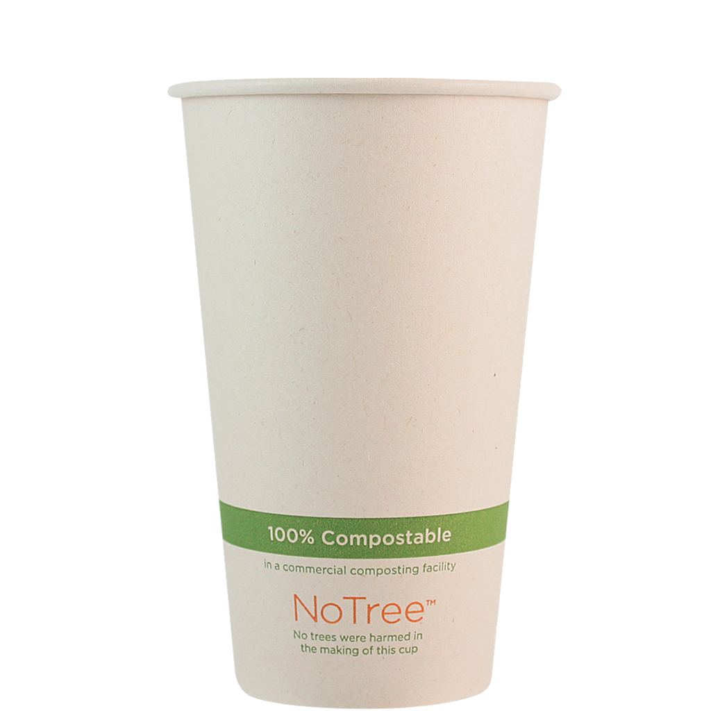 16 oz NoTree Paper Hot or Cold Cup, Compostable, 1000/cs