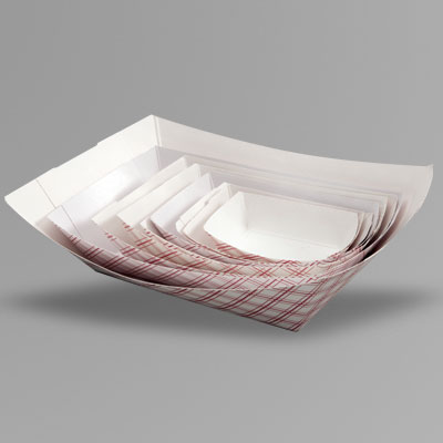 *SPECIAL ORDER ITEM* Food Tray, Capacity: 2lb, Color: white with red plaid, Material: clay coated paper, Compostable, 1000/cs *SEE DETAILS BELOW*