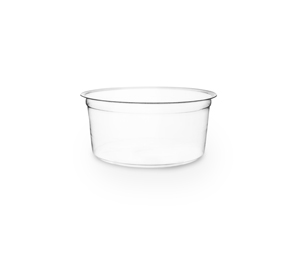 12 oz Round Deli Container, Color: Clear, Material: PLA, Compostable, 500/cs