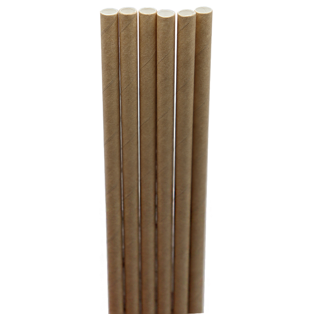 "Jumbo straw, Length: 8"", Unwrapped, Color: Natural, Material: Paper, Compostable, 6000/cs, Special Order, Non-refundable, 3 week lead time"