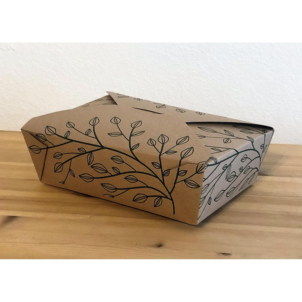 "Fold-To-Go Container Eco-Box #3, Size: 8""x5.75""x2.5"", Color: Kraft, Compostable, 200/cs"